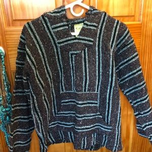 Sweaters - AUTHENTIC Turquoise/Black/Grey Mexican poncho